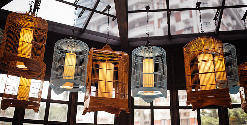 Decorative birdcages at Dolly Dim Sum
