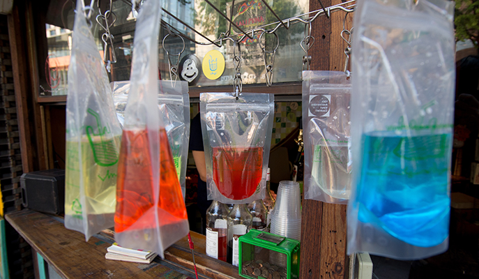 Colorful cocktails in Ziplock bags at Vinyl