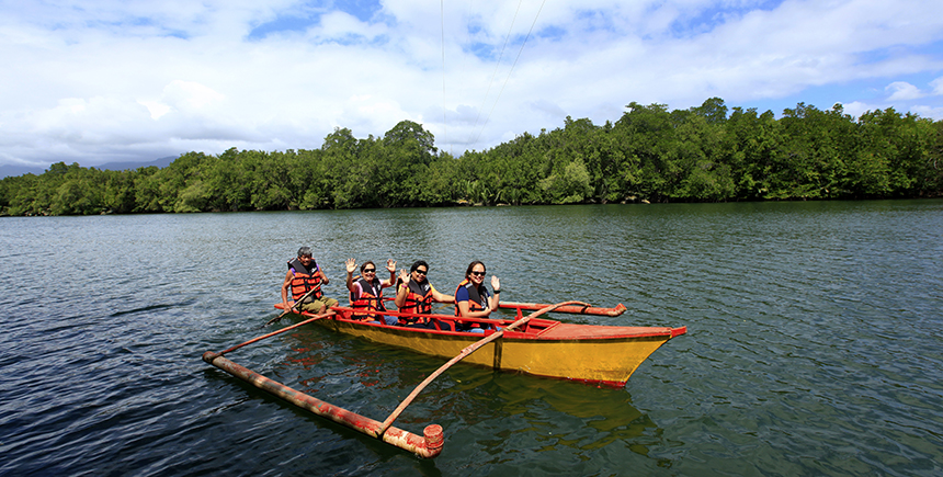 Touring the mangroves of the Irawan River