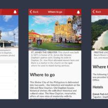 Screenshots of the Dapitan Guide app