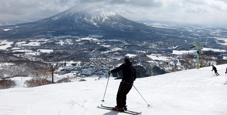 Skiing with a view of Mt Yotei