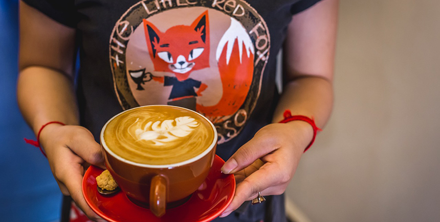 A latte from The Little Red Fox Espresso