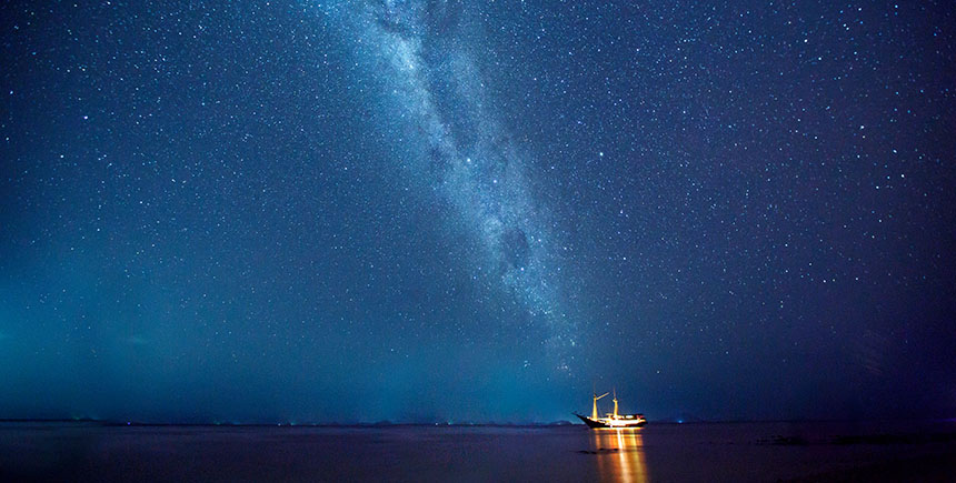 The view of the stars and the Milky Way on a clear night in Komodo