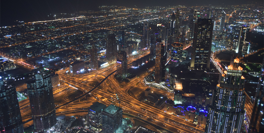 The sprawling urban oasis at night Dubai