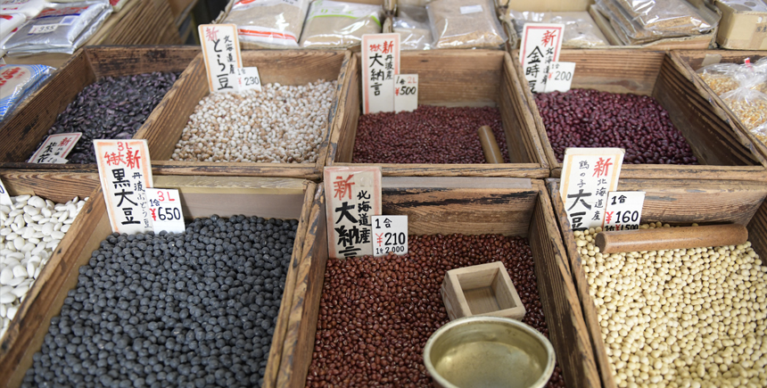 Beans and berries at Temma Market Osaka Japan