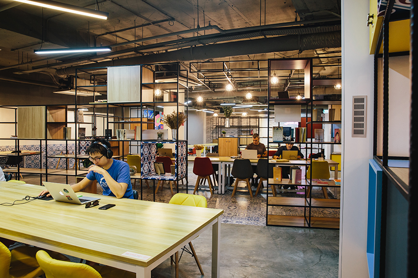 The main hot-desking area oozes with Peranakan vibes