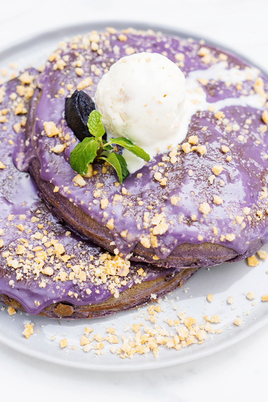 Ube pancakes from Sunny Side Cafe