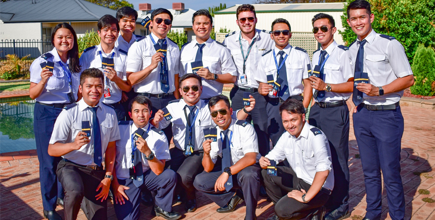 The first batch of Cebu Pacific Cadet Pilots receive their third officers gold bars following their intensive aviation training program at Flight Training Adelaide (FTA) in Australia last February 2019 . They are on their final phase of training, with their graduation scheduled in June 2019.